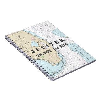 ジュピターFLの緯度の経度の航海のな図表 ノートブック