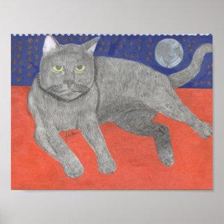 ジュリアハナ著月そして星を持つ猫 ポスター