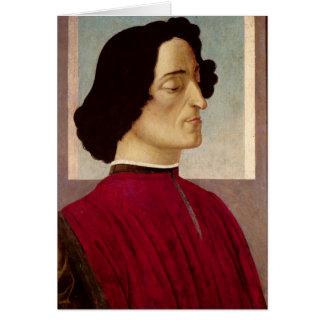 ジュリアーノのde Medici c.1480のポートレート カード