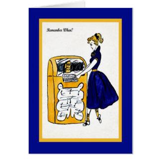 ジュークボックス及びポニーテールの女の子が付いている50年代のメッセージカード グリーティングカード