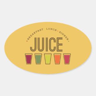 ジュース-朝食、昼食及び夕食。 ジュースは清潔になります 楕円形シール