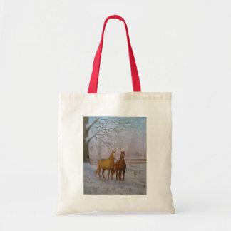 ジョアンヌCasey著雪の油絵の馬- トートバッグ
