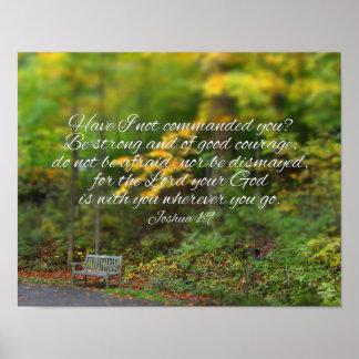 ジョシュアの1:9の聖書の詩のクリスチャンの聖なる書物、経典 ポスター