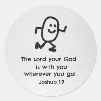 ジョシュアの1:9主はあなたとあなたの神…あります ラウンドシール