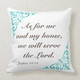 ジョシュアの24:15 20 x 20のリバーシブルの正方形の枕 クッション