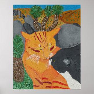 ジョシュアツリーで接吻している2匹の猫 ポスター