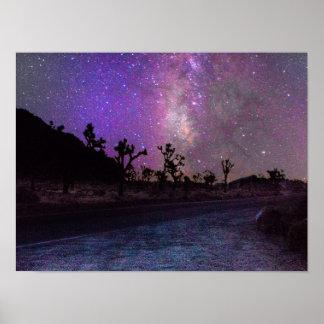 ジョシュアツリーの国立公園の銀河 ポスター