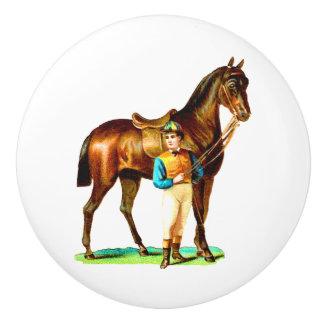ジョッキーのヴィンテージの芸術のブラウンの競走馬 セラミックノブ