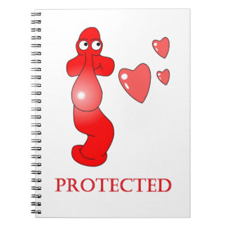 ジョニーのコンドームによって保護されるハート ノートブック