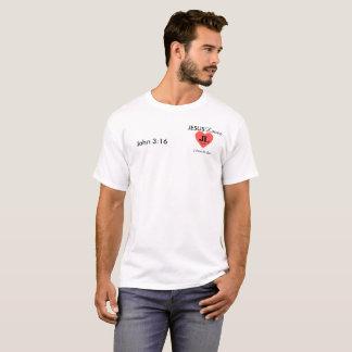 ジョンの白い3:16イエス・キリストはティーを愛します Tシャツ