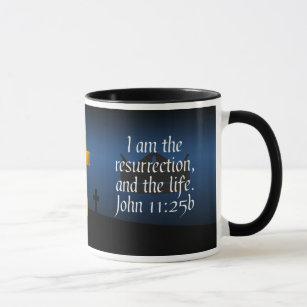 ジョンの11:25 bの十字の聖書の詩のコーヒー・マグ マグカップ