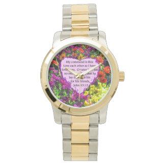 ジョンの15:12の紫色の野生花の写真のデザイン 腕時計
