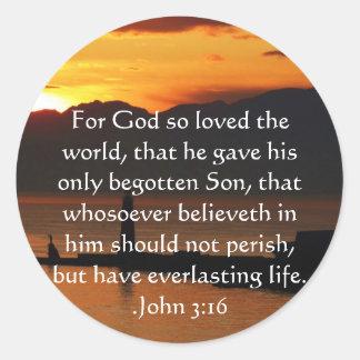 ジョンの3:16のキリスト教の感動的な引用文 ラウンドシール