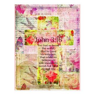 ジョンの3:16の感動的な聖書の詩は芸術を言い表わします ポストカード