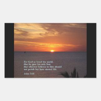 ジョンの3:16の日没 長方形シール