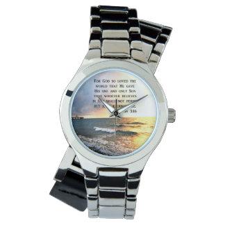 ジョンの3:16の海の写真のデザインをインスパイア 腕時計