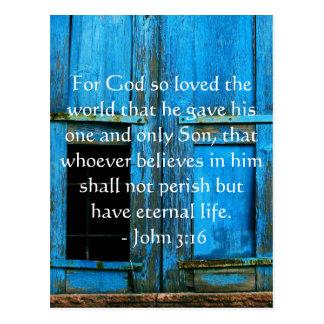 ジョンの3:16の聖なる書物、経典の感動的な引用文 ポストカード