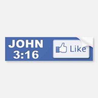 ジョンの3:16の聖書の詩-ボタンのキリスト教の青のような… バンパーステッカー