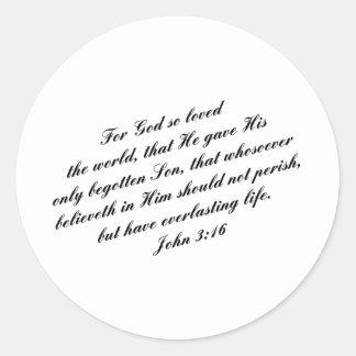 ジョンの3:16の聖書の詩(KJV) ラウンドシール