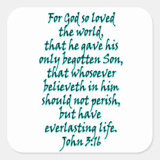 ジョンの3:16の英語 スクエアシール