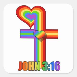 ジョンの3:16の~の虹の十字 スクエアシール