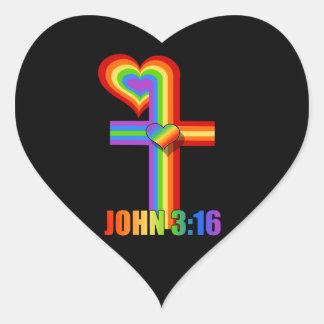 ジョンの3:16の~の虹の十字 ハートシール