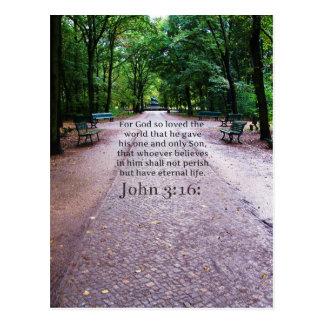 ジョンの3:16: 感動的な聖書の引用文の自然 ポストカード