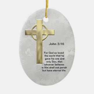ジョンの3:16 (白い) セラミックオーナメント