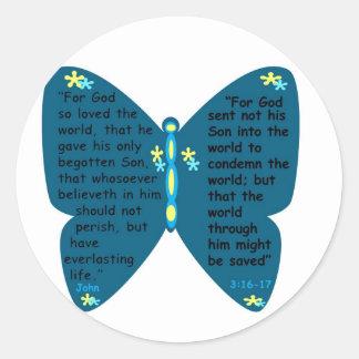 ジョンの3:16 - 17の蝶青のステッカー ラウンドシール