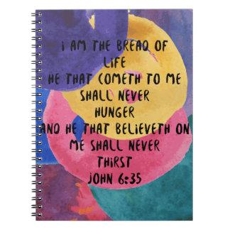 ジョンの6:35 KJV私は生命のパンです ノートブック