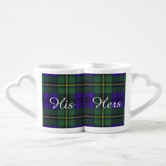 ジョンソンの一族の格子縞のスコットランド人のタータンチェック ペアカップ