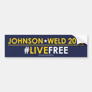 ジョンソンまたは溶接自由主義的なバンパーステッカーの#LIVEFREE バンパーステッカー
