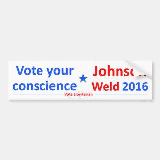 ジョンソン溶接2016年 -- あなたの良心を投票して下さい バンパーステッカー