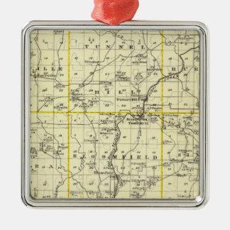 ジョンソン郡およびウィーンの地図 メタルオーナメント
