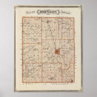 ジョンソン郡の地図 ポスター