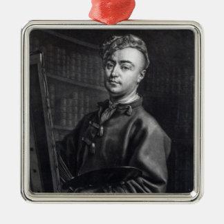 ジョンフェーバーが刻む自画像1735年 メタルオーナメント