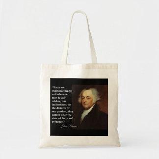 """ジョン・アダムズの""""事実頑固な事の… """"は引用文です トートバッグ"""