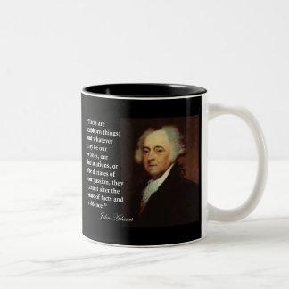 """ジョン・アダムズの""""事実頑固な事""""の引用文です ツートーンマグカップ"""