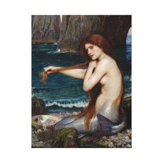 """ジョン・ウィリアム・ウォーターハウスのキャンバスによる""""人魚"""" キャンバスプリント"""