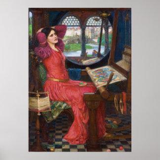 ジョン・ウィリアム・ウォーターハウス著エシャロットの女性 ポスター