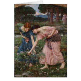 ジョン・ウィリアム・ウォーターハウス著バラのつぼみを集めること カード