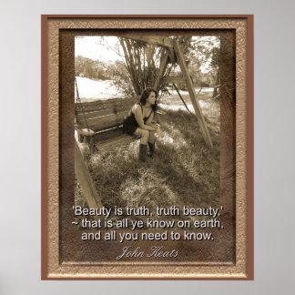 ジョン・キーツの引用文-芸術のプリント-は美しい真実です ポスター