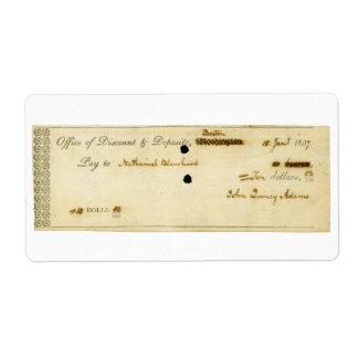 ジョン・クィンシー・アダムズのオリジナルによって署名される点検 発送ラベル