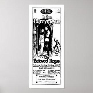 ジョンBarrymoreの最愛の狂暴なヴィンテージ映画広告 ポスター