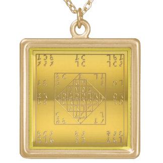ジョンDeeの鎖の金ゴールドの終わりEnochian Lamen ゴールドプレートネックレス