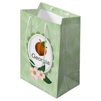 ジョージアのモモのフルーツの芸術の設計 ミディアムペーパーバッグ