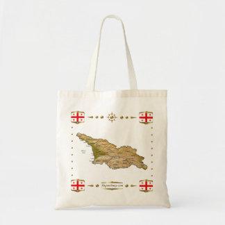 ジョージアの地図 + 旗のバッグ トートバッグ