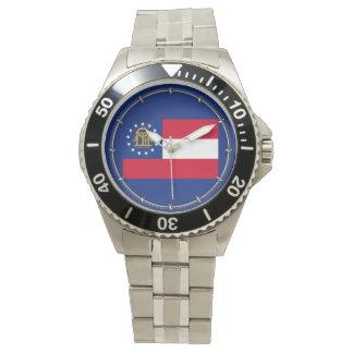 ジョージアの州の旗のデザイン 腕時計