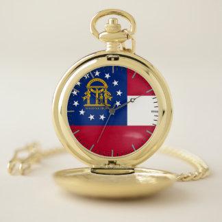 ジョージアの旗が付いている愛国心が強い壊中時計 ポケットウォッチ
