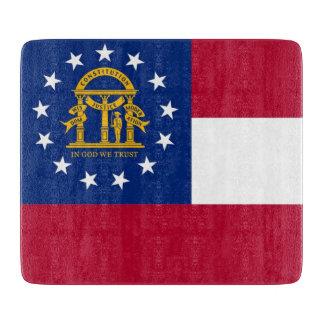 ジョージアの旗を持つ小さいガラスまな板 カッティングボード